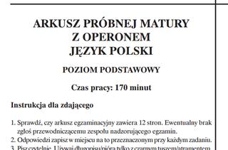 Matura Próbna 20152016 Operon Język Polski Zadania Tematy