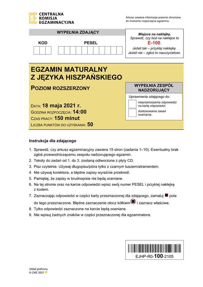 Mathura 2021: español ampliado.  Las hojas de CKE en español se pueden encontrar aquí [Matura 18.05.2021]