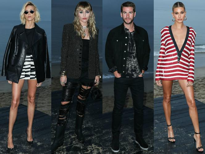 Miley Cyrus, Liam Hemsworth, Hailey Bieber, Anja Rubik na pokazie Saint Laurent