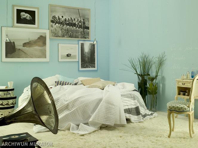 Subtelny Wystrój Sypialni Niebieskie ściany I Dodatki