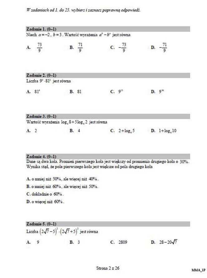 matura próbna 2021 matematyka odpowiedzi