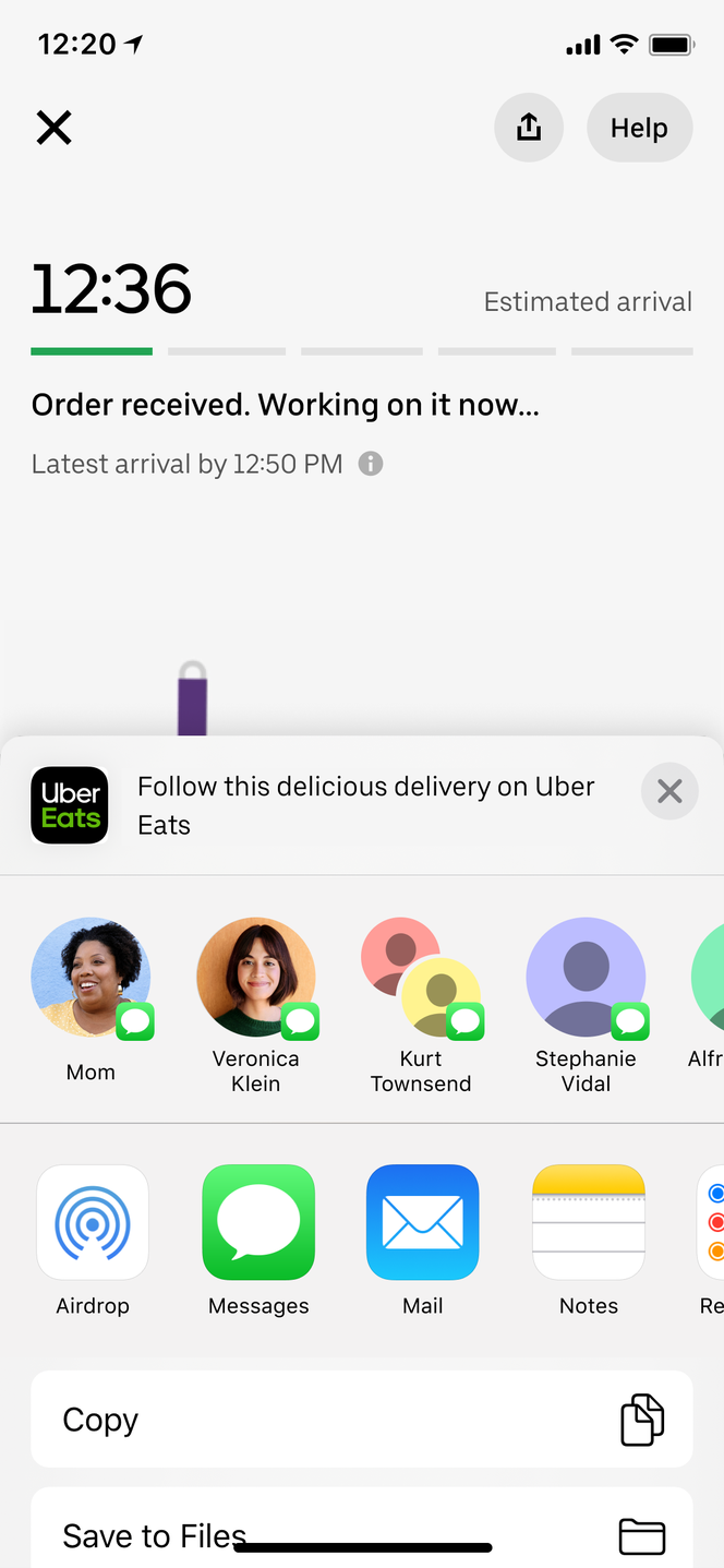 Uber Eats Share this Delivery