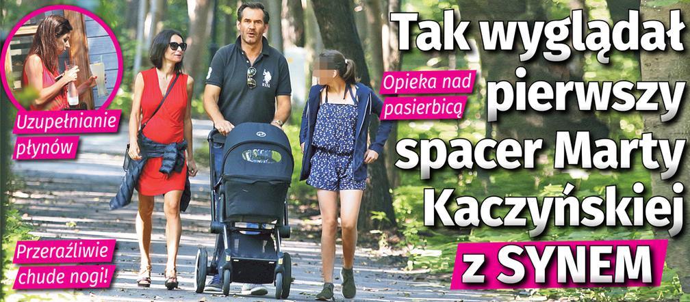 Przeraźliwie chuda Marta Kaczyńska na pierwszym spacerze z