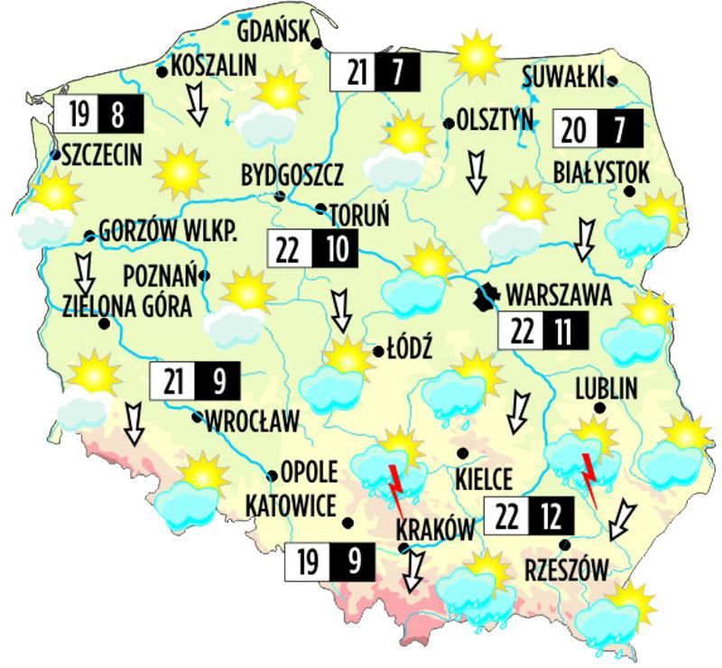 Prognoza Pogody Na Wtorek 11 Czerwca 2013 Warszawa 22 Krakow 22